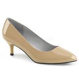 Beige Lackläder 6,5 cm KITTEN-01 stora storlekar pumps skor