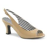 Beige Lackläder 7,5 cm JENNA-02 stora storlekar sandaler dam