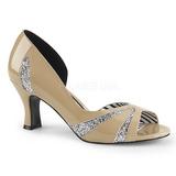 Beige Lackläder 7,5 cm JENNA-03 stora storlekar pumps skor