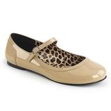Beige Lackläder ANNA-02 stora storlekar ballerina skor
