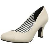 Beige Leatherette 7,5 cm JENNA-01 big size pumps shoes