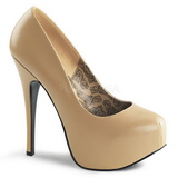 Beige Matt 14,5 cm Burlesque BORDELLO TEEZE-06 Höga Platåpumps
