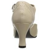 Beige Matt 7,5 cm retro vintage FLAPPER-26 kvinnor pumps med låg klack