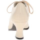 Beige Matt 7 cm retro vintage VICTORIAN-03 kvinnor pumps med låg klack