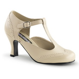 Beige Matte 7,5 cm retro vintage FLAPPER-26 Pumps with low heels