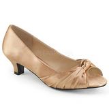Beige Satin 5 cm FAB-422 stora storlekar pumps skor