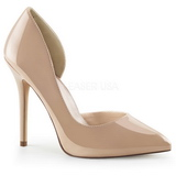 Beige Shiny 13 cm AMUSE-22 Low Heeled Classic Pumps Shoes