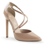 Beige Shiny 13 cm SEXY-26 Low Heeled Classic Pumps Shoes