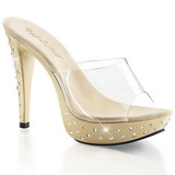 Beige Transparent 14 cm COCKTAIL-501SDT Slippers Strass Klackar