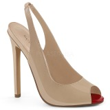 Beige Varnished 13 cm SEXY-08 Sling Back Pumps Shoes