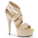 Beige elastiskt band 15 cm DELIGHT-669 pleaser skor med hög klack