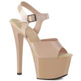 Beige högklackade skor 18 cm SKY-308N JELLY-LIKE stretchmaterial högklackade platåskor