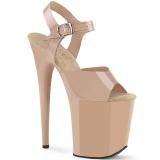 Beige högklackade skor 20 cm FLAMINGO-808N JELLY-LIKE stretchmaterial högklackade platåskor