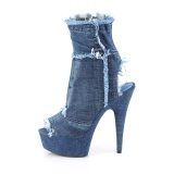 Blå 15 cm DELIGHT-1030 canvas sneakers med hög klack