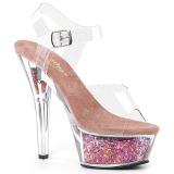 Blå 15 cm KISS-208GF glittriga platå sandaler skor