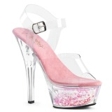 Blå 15 cm KISS-208WHG glittriga platå sandaler skor