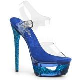 Blå 16,5 cm ECLIPSE-608GT Sandaletter med stilettklack