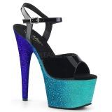 Blå 18 cm ADORE-709OMBRE glitter platå high heels