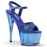 Blå 18 cm ADORE-710GT glittriga platå klackar skor