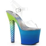 Blå 18 cm ARIEL-708OMBRE Akryl platå klackar skor