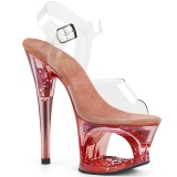 Blå 18 cm MOON-708GFT glitter platå high heels