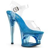 Blå 18 cm MOON-708GFT glittriga klackar platå sandaler skor