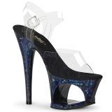 Blå 18 cm MOON-708HSP Hologram platå klackar skor