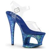 Blå 18 cm MOON-708LG glitter platå high heels