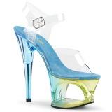 Blå 18 cm MOON-708MCT Akryl platå klackar skor