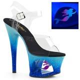 Blå 18 cm MOON-708MER Neon platå klackar skor