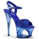 Blå 18 cm MOON-710GT glitter platå high heels