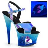 Blå 18 cm MOON-711MER Neon platå klackar skor