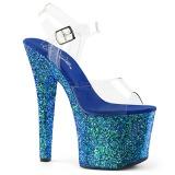 Blå 18 cm RADIANT-708LG glitter platå klackar skor