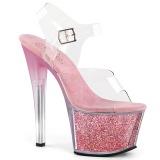 Blå 18 cm SKY-308G-T glitter platå high heels