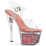 Blå 18 cm SKY-308GF glittriga platå sandaler skor