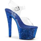 Blå 18 cm SKY-308LG glittriga platå klackar skor