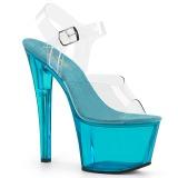 Blå 18 cm SKY-308T-2 Akryl platå klackar skor