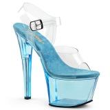 Blå 18 cm SKY-308T Akryl platå klackar skor