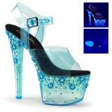 Blå 18 cm SKY-308UVMG Högklackade sandaler neon platå
