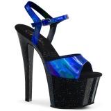 Blå 18 cm SKY-309HG Hologram platå klackar skor