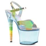 Blå 18 cm UNICORN-711T Akryl platå klackar skor
