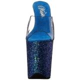Blå 20 cm FLAMINGO-801LG glitter platå tofflor dam med klack