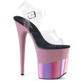 Blå 20 cm FLAMINGO-808-2HGM glitter platå high heels