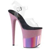 Blå 20 cm FLAMINGO-808-2HGM glittriga klackar platå sandaler skor