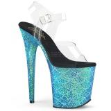 Blå 20 cm FLAMINGO-808MSLG glitter platå high heels