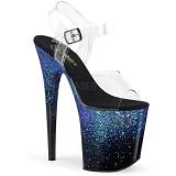 Blå 20 cm FLAMINGO-808SS glitter platå high heels