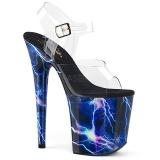 Blå 20 cm FLAMINGO-808STORM Hologram platå klackar skor