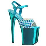 Blå 20 cm FLAMINGO-809MMRS glitter platå high heels