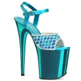 Blå 20 cm FLAMINGO-809MMRS glittriga klackar platå sandaler skor