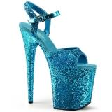 Blå 20 cm FLAMINGO-810LG glittriga platå klackar skor